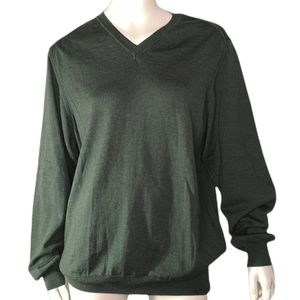 Black Brown 1826 100% Merino Wool V-neck Sweater Made in Italy